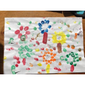 Chloe's number flowers fingerprint painting!