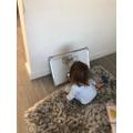 Honey completing her phonics activities!