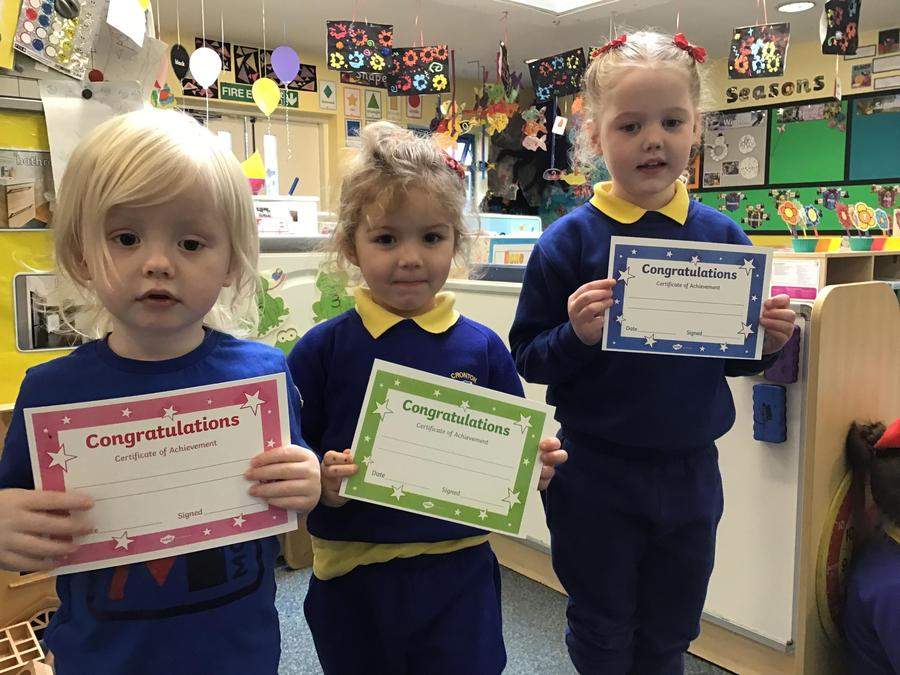 Our Nursery certificates thiwere awarded for being helpful, doing the right thing a