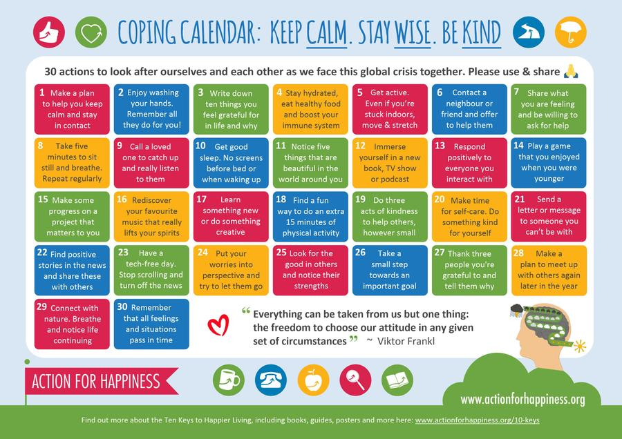 Coping Calendar Actions for Happiness