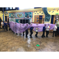 We did a dragon dance all the way around school.