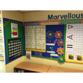 Good To Be Green chart and Maths working walls.