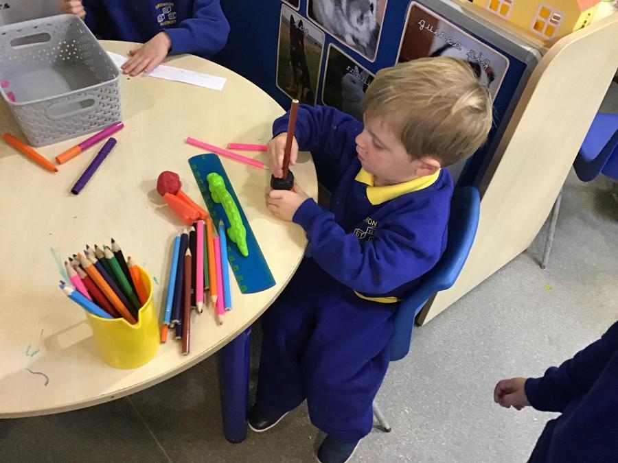Sharpening pencils.