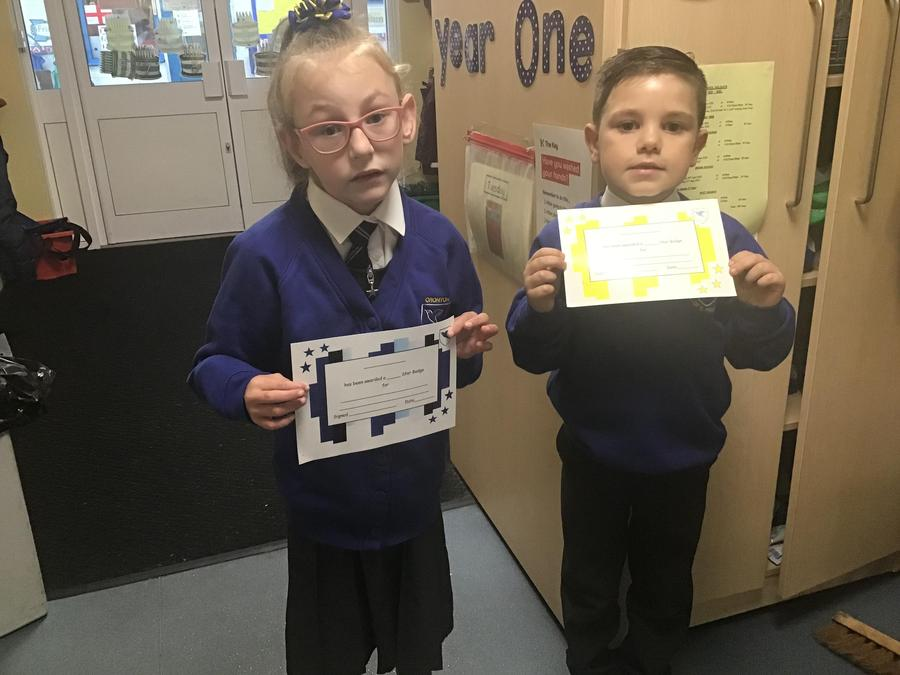 Our first certificates have been awarded for making a good start to Y1