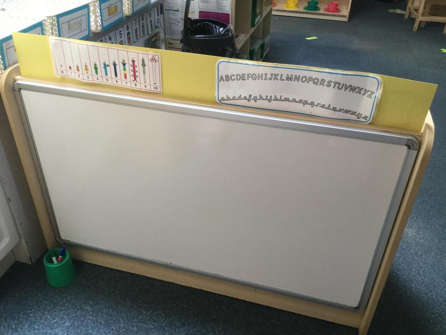 Our  lovely large  white board waiting for your pictures and writing.