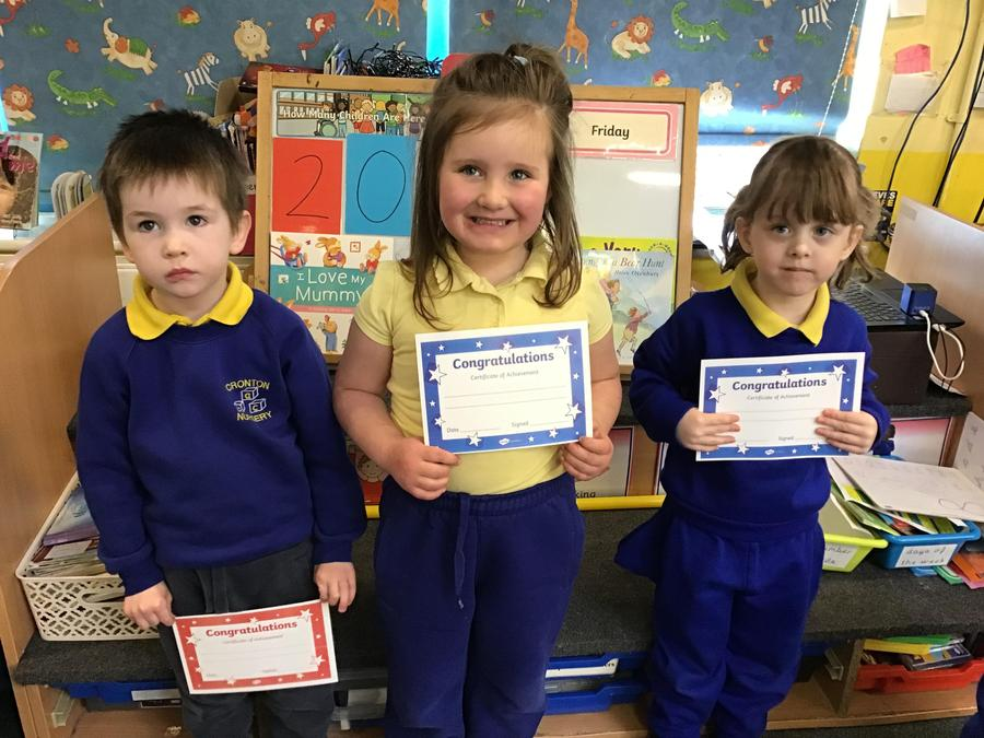 This weeks certificates were for good tidying  and a great return to Nursery.