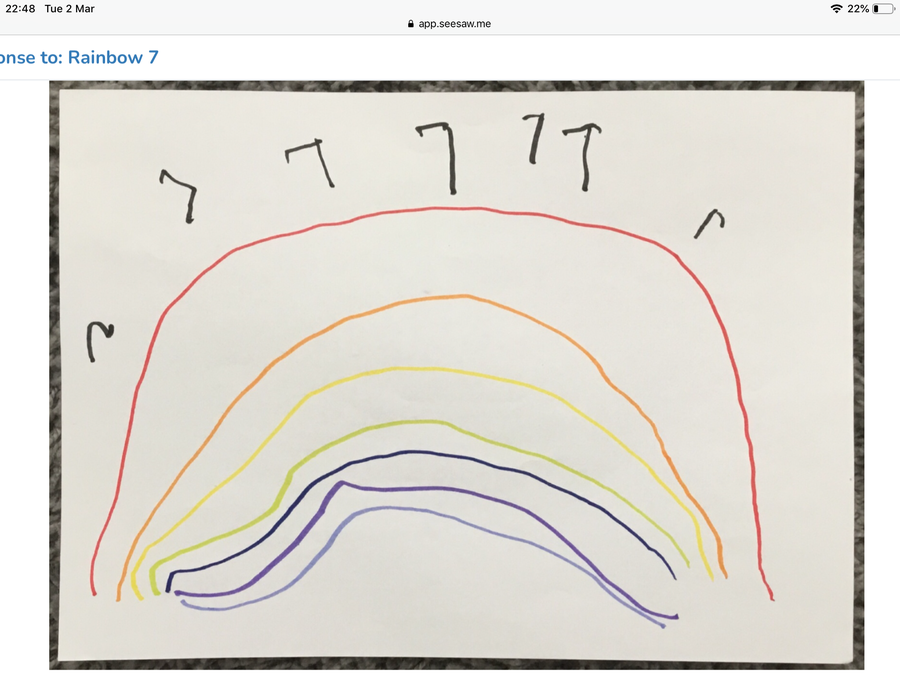 There are 7 colours in a rainbow as this lovely picture shows us.
