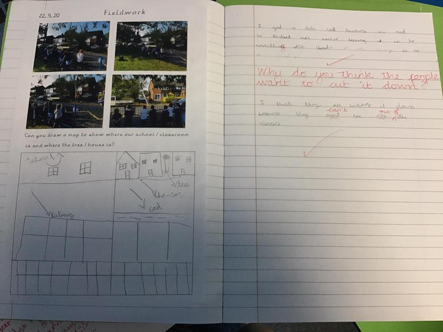 Fieldwork presented in a book of year 2 pupil