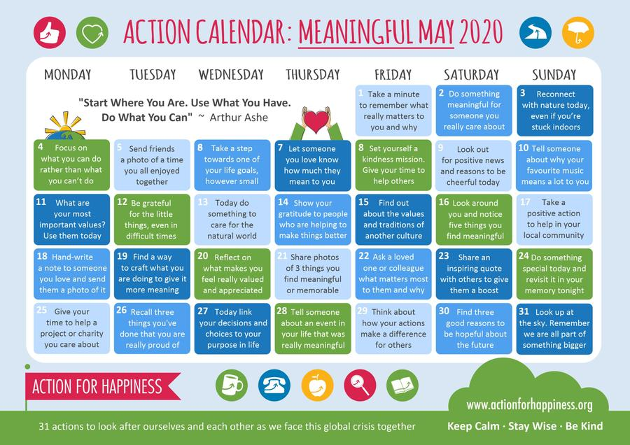 Meaningful May Actions for Happiness