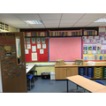 Science display and English working walls.