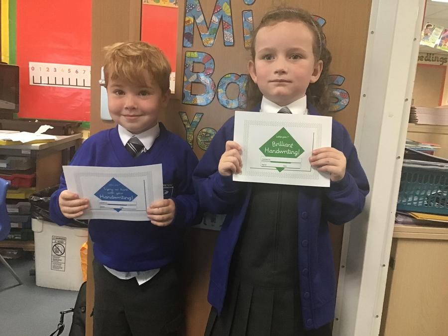 Our first handwriting certificates.