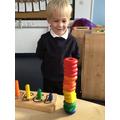 Harlen made 1 rainbow tower