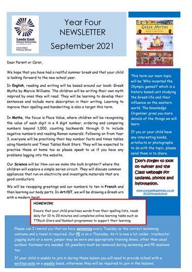 Year 4 Autumn 1 Newsletter