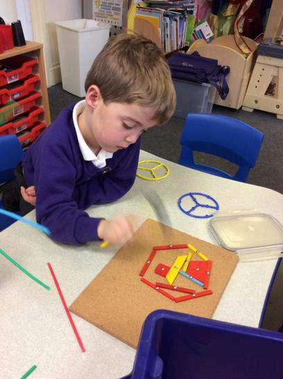 Picture making using straws.