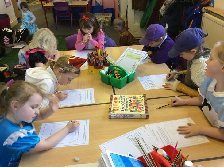 Writing and drawing for World Book Day.