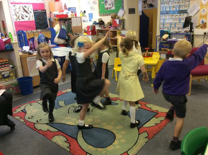 year one performing a sound poem.
