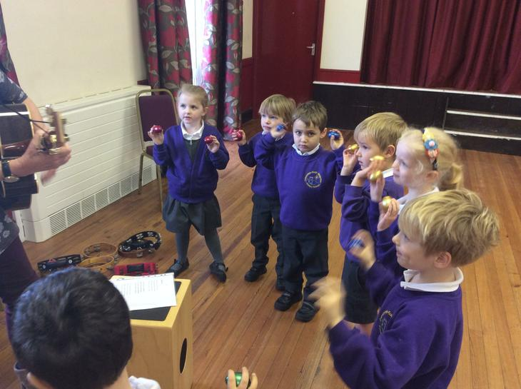 Learning a new song with actions.