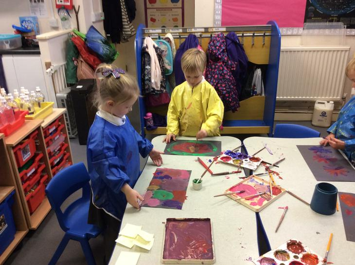 Painting firework pictures.