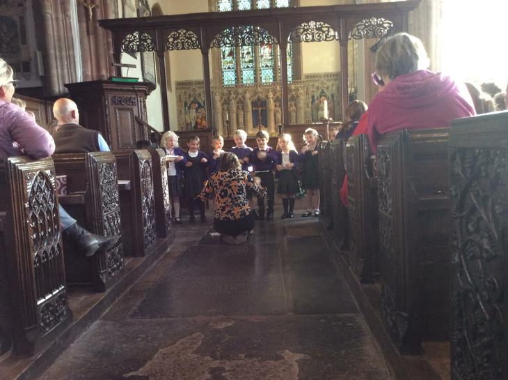 We performed the autumn days poem in church.