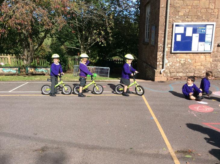 Reception using the balance bikes.