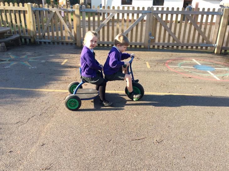 Out and about on the tricycle.