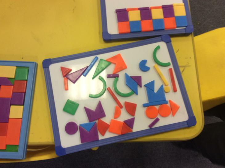 Creating pictures with shapes.