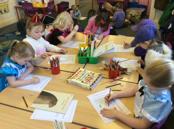 World book day drawing and writing.