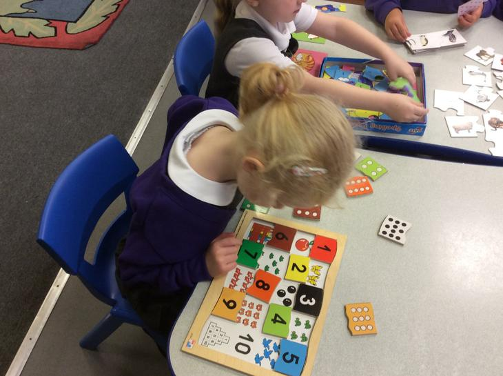 Reception did maths puzzles.