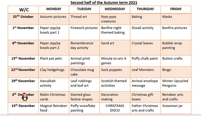 Activities Autumn B