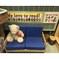 A quiet reading corner ready for our Reception children to enjoy new stories.