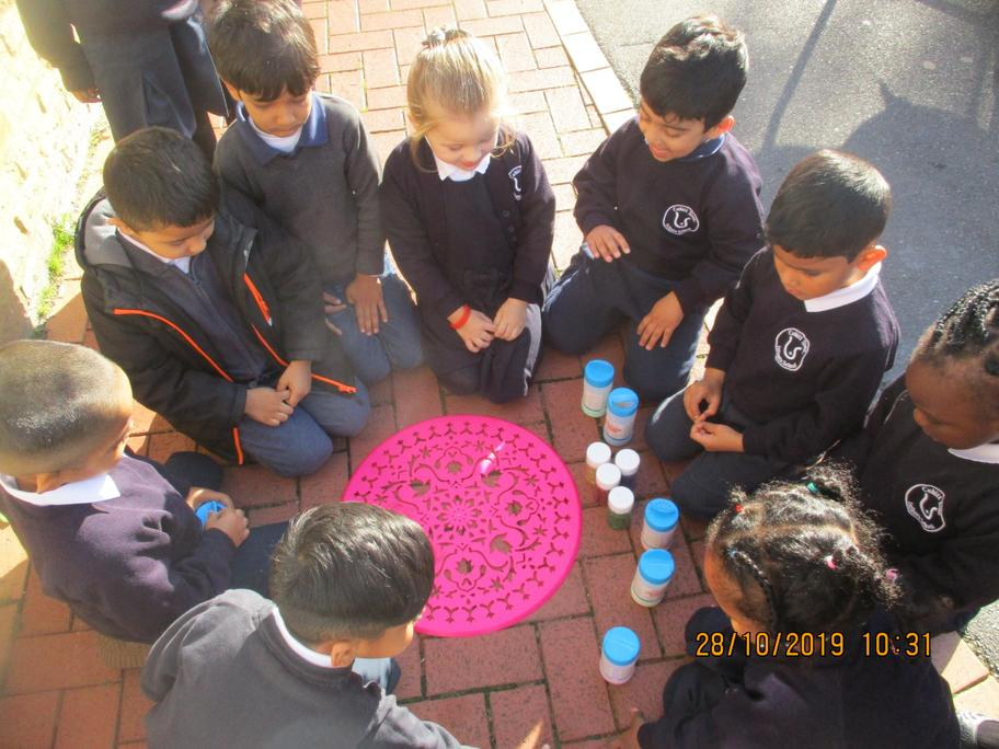 We made rangoli patterns outside our class