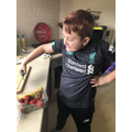 Harry's Smoothie Making - chopping the fruit