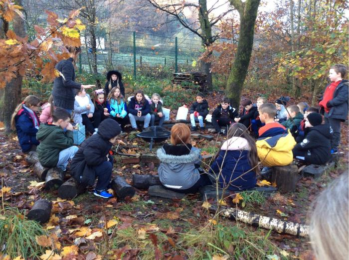 Forest Schools - Making Celtic bread on the fire.