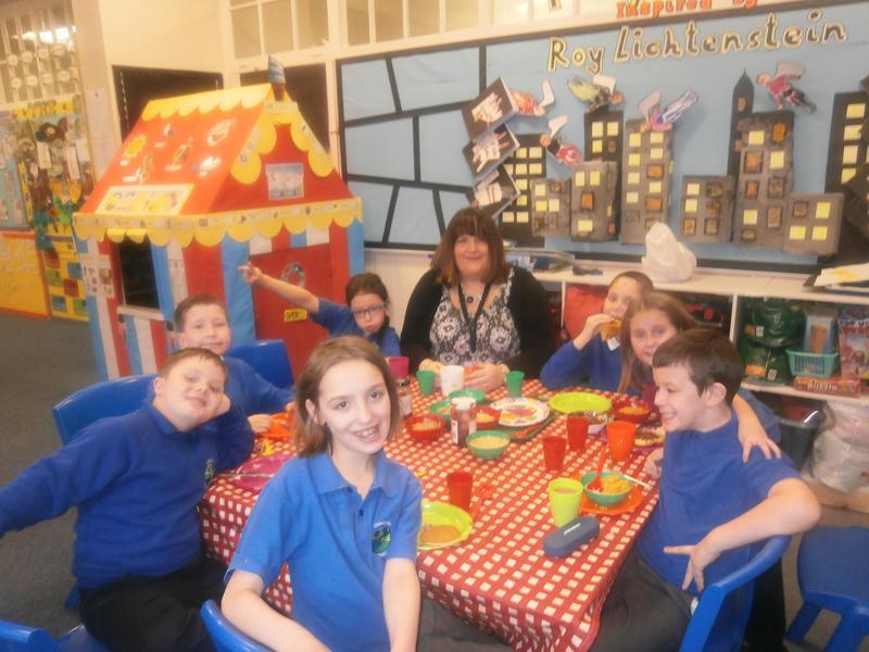 Class 5 enjoying breakfast with Mrs Robbins.