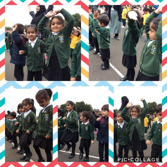Oak Class took part in a whole school wake and shake with Mrs Smith.
