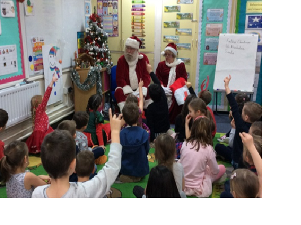 Mr and Mrs Clause chatted with the children