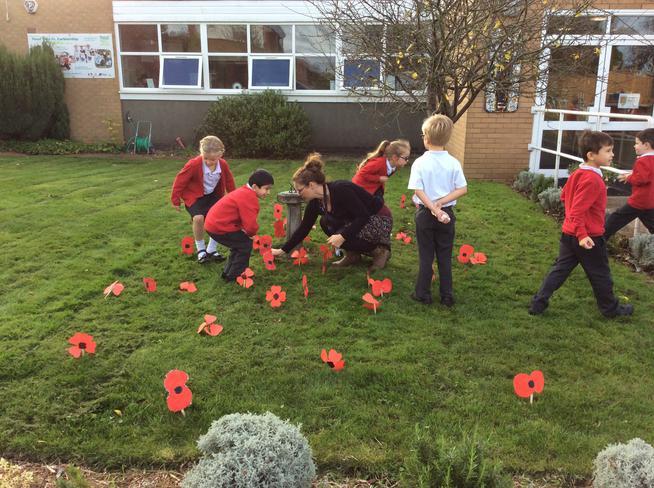 Year 2 children made poppies for Armistice Day