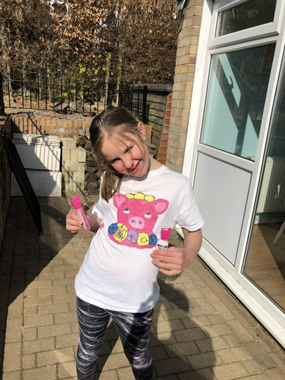 Lily has been designing and painting a t-shirt!