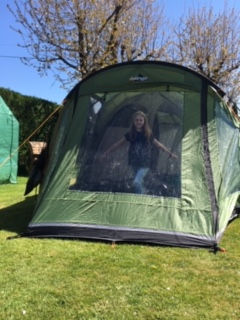 Charlotte has been camping out in her tent!