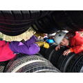 squeezing through the tyres