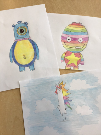 Miss Wilman's drawings from 'Drawing with Rob'!