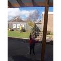 Swatting the balloons!
