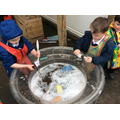 We washed the animals in the soapy water.
