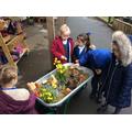 Making a fairy garden.
