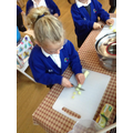 Reception making their harvest vegetable soup.