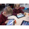Creating dinosaur pictures on the iPads