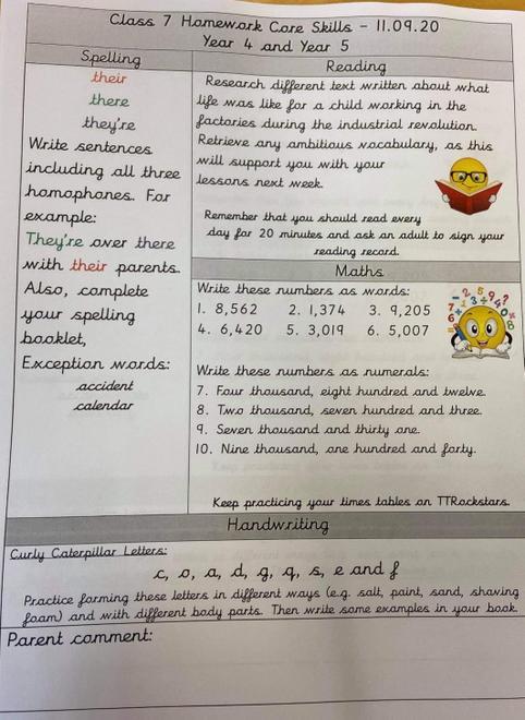 Homework for Class 7 11.09.20
