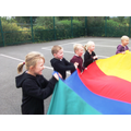 We loved playing with the parachute in PE!