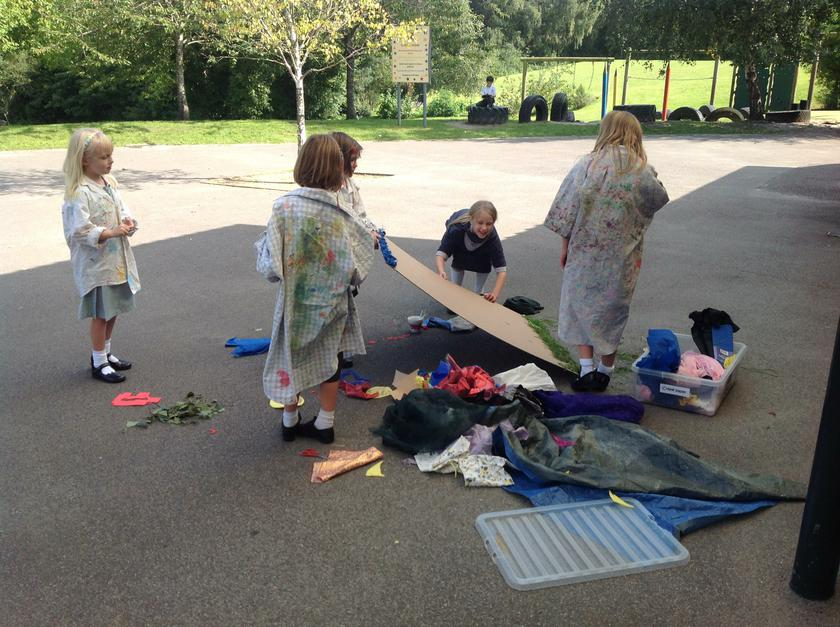Outdoor collage making