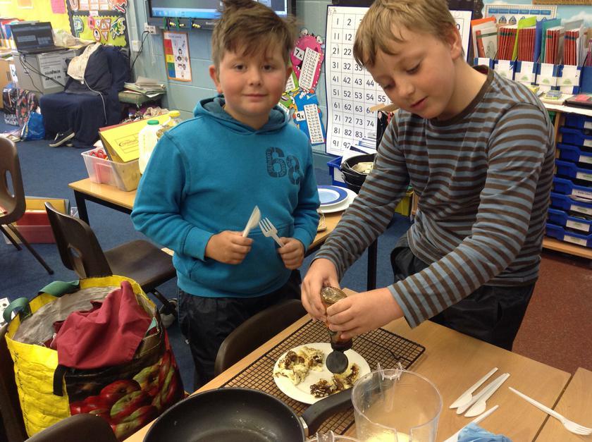 Making Roman Pancakes and eating them!